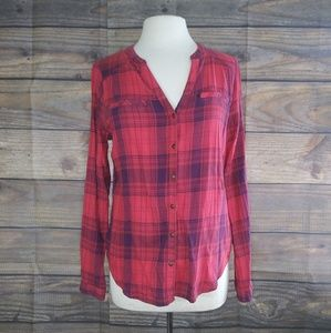 Maurices   Red & Navy Plaid Button Down Large